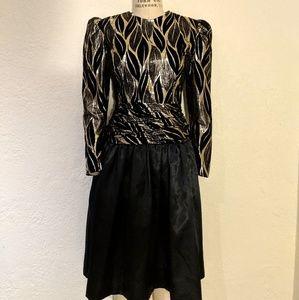 Vintage Long Sleeve Gold Lame Drop Waist Dress